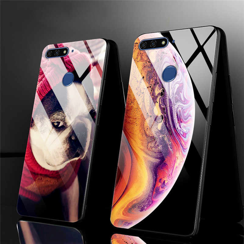 Anti Gores untuk Huawei Honor 7C 7A Pro Case Honor 7 C Kaca Back Cover Kasus Kehormatan 7C kehormatan 7A Case Bingkai Bumper
