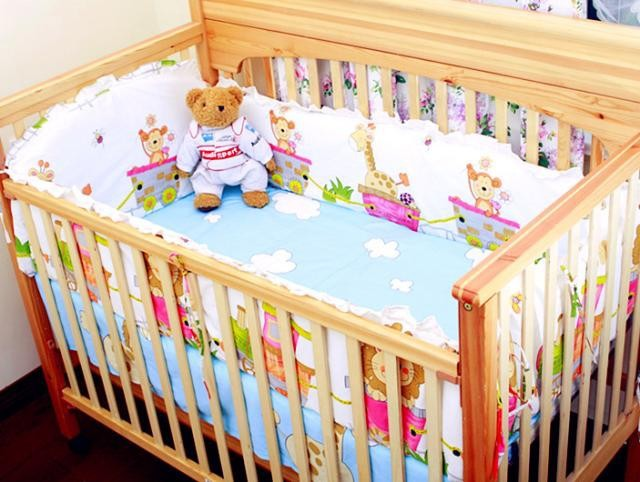 Promotion! 6PCS Baby Crib bedding sets bed bumper cotton baby bedclothes Cartoon crib bedding set (bumpers+sheet+pillow cover)