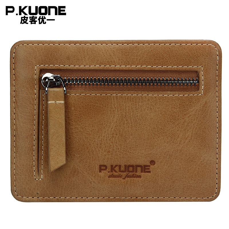 P.KUONE Genuine Leather Wallet Blocking Mini Wallet Protect Safe Credit Card Holder Designer High Quality Money bag Waller Purse
