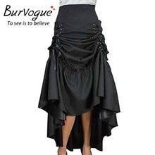 Burvogue Plus Size Skirt Steampunk High Waist Skirts Fashion Long Maxi Skirts Black Three Tiered Satin Gothic Steampunk Skirts