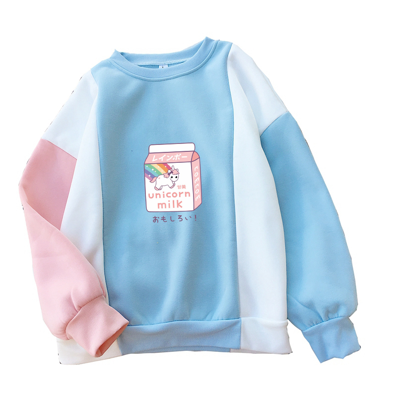 Unicorn MIlk Hoodies Women Fleece Harajuku Casual Kawaii Cartoon Print Sweatshirt Autumn Winter Raglan Splicing Pullover Clothes