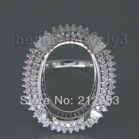 Natural Baguette Round Diamond Rings Semi Mounts Oval 13x18mm 14Kt White Gold SR0002