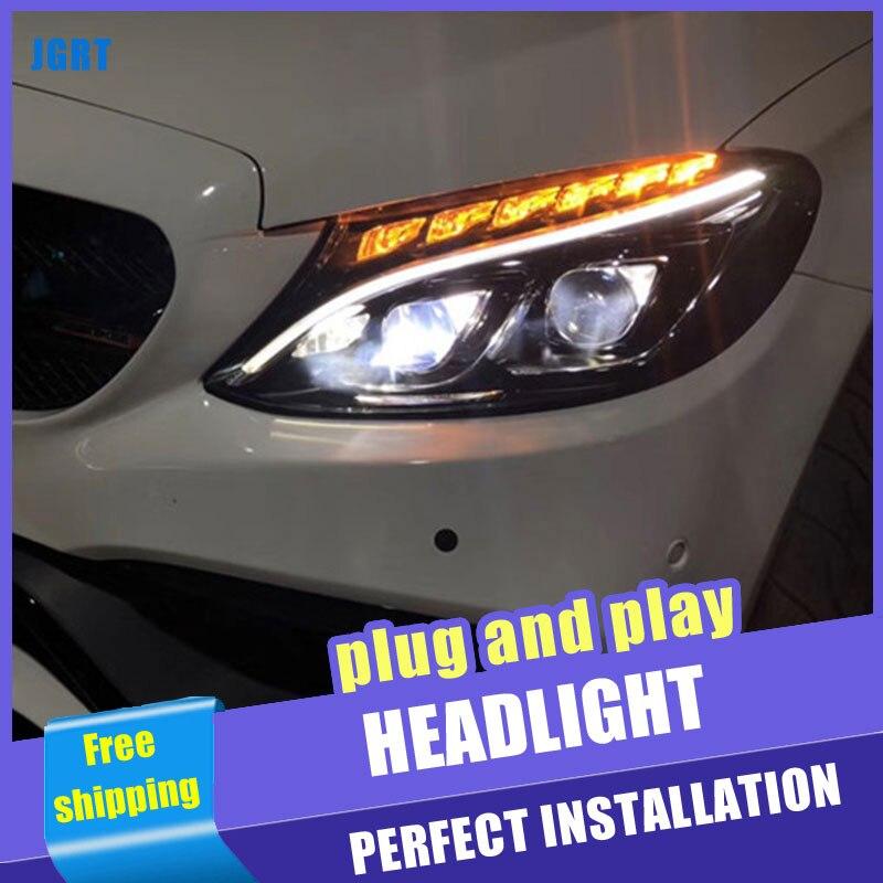 2 pièces voiture Style LED phares pour Benz W205 c-class 2015-2018 pour W205 lampe frontale LED DRL lentille Double faisceau H7 HID xénon bi xeno