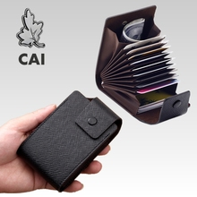 CAI Fashion Credit Card Holder Men Women Leather Luxury PU 11.5cm ID Cards Holders Bag Male Retro Business Casual Organ Bags