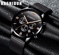 Relogio Masculino KASHIDUN Men Watches Top Brand Luxury Fashion Business Quartz Watch Men Sport Full Black