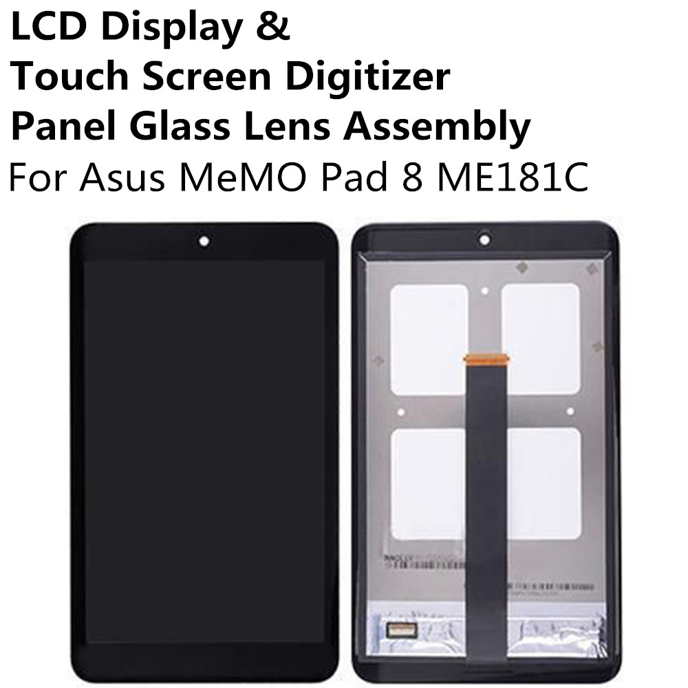 New LCD Display + Touch Screen Digitizer Panel Glass Lens Assembly For Asus MeMO Pad 8 Pad8 ME181C Replacement Parts Repair Part new 10 1 inch best quality me302kl lcd for asus memo pad fhd10 me302 lcd display touch screen digitizer assembly