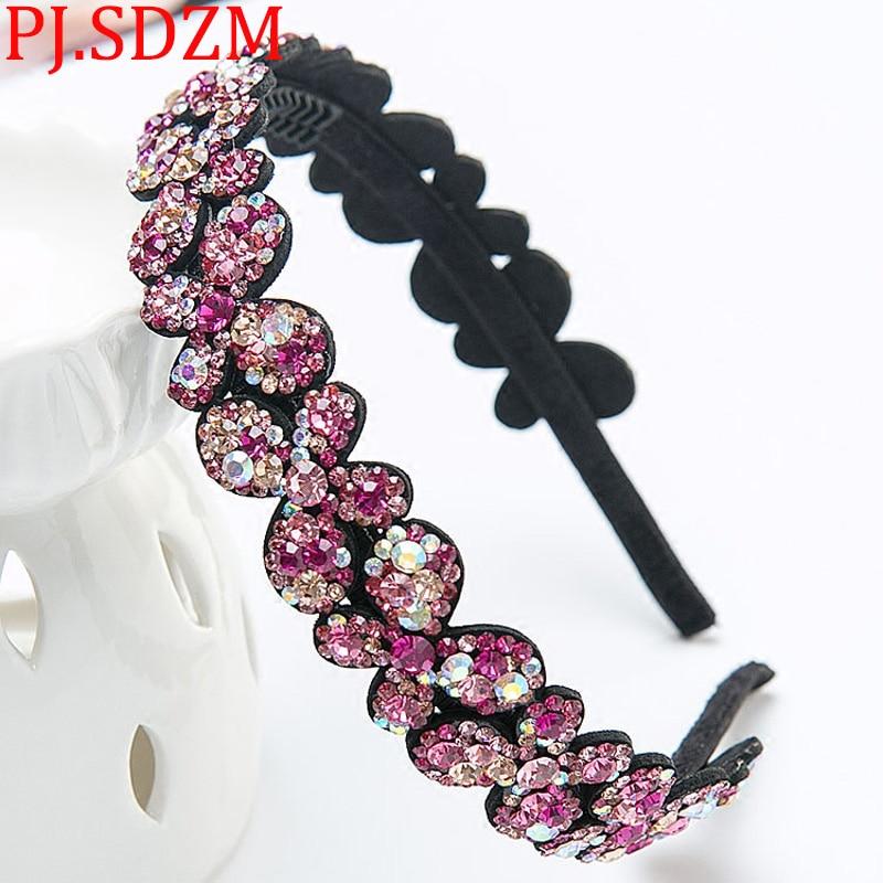 PJ.SDZM Exquisite Rhinestone Hairbands Woman Grade CZ Crystal Headbands Luxury Gift Headwear Sweet Bow Hair Accessory