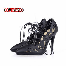 High quality Women Strappy Heels Pumps Sexy Cut-outs Women Lace up High heels Ladies Pointed Toe Pumps Dress Shoes summersandals