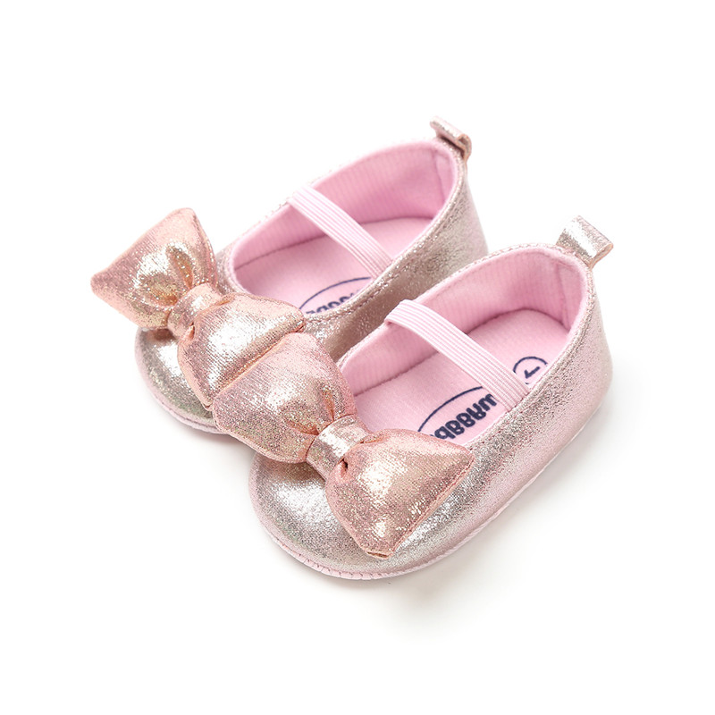 0-18M Baby Girls Bow Knot Shoes Soft Sole Prewalker Mary Jane Princess Party Dress Crib Shoes with Headband
