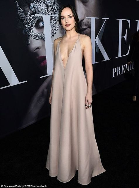 2017 Inspired by Dakota Johnson Celebrity Dress A Line Satin V Neck Red  Carpet Dress Evening Dresses Vestidos 2cc92494e976