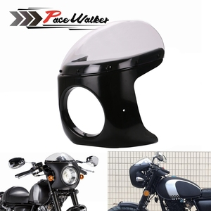 FREE SHIPPING Motorcycle Retro Cafe Racer Style Headlight Handlebar Fairing with Screen Universal fit 7 inch Motorbike