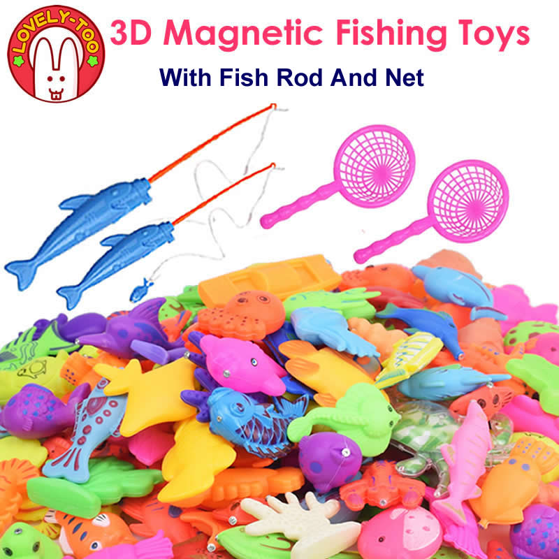 LovelyToo Fish Toy Magnetic Fishing Toys Games Plastic 3D With Rod Net Tricks Parent Kids Fun toy Outdoor Educational Gifts