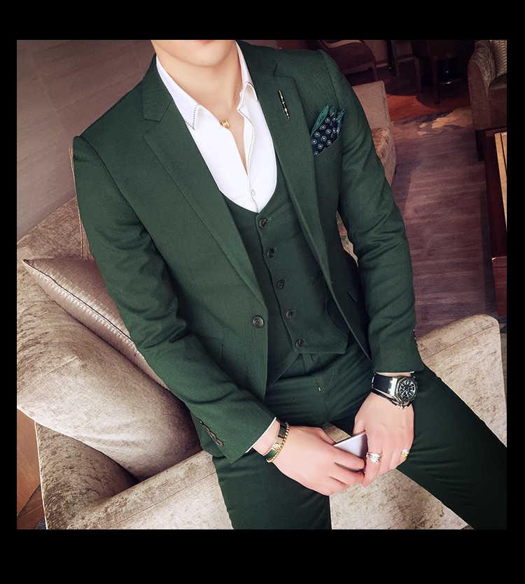 グリーンタキシードジャケットメンズスーツスリムフィット 3 ピースセットホワイトスタイリッシュなデザイナーのウェディングスーツグレー衣装オムマリアージュスモッキング