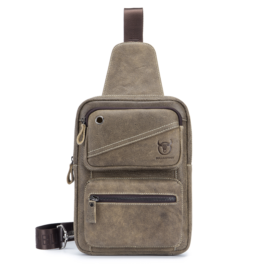Brand Cool Nubuck Genuine Leather Men's Chest Sling Bag Male Cross Body Shoulder Bag Cowhide Messenger Bag Travel Pack For Ipad