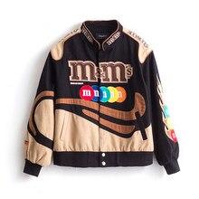 Haft Harajuku Patch Plus rozmiar płaszcz 2021 wiosna jesień kurtki damskie Hip Hop jesień z długim rękawem kurtka damska znosić