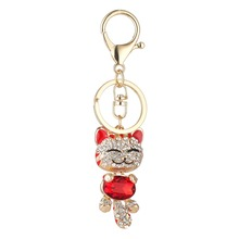 Cute Cat Crystal Rhinestone Keyrings Key Chains Rings Holder Purse Bag For Car Lovely Keychains