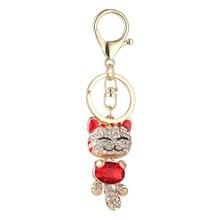 Cute Cat Crystal Rhinestone Keyrings Key Chains Rings Holder Purse Bag For Car Lovely Keychains