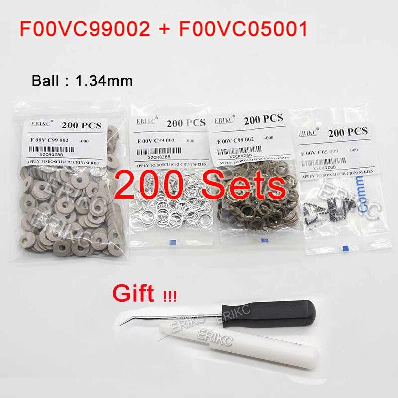 Erikc f00vc99002 diesel injector válvula kits de reparo aço bola f00vc05001 1.34mm kit de bola injector combustível para bosch atacado