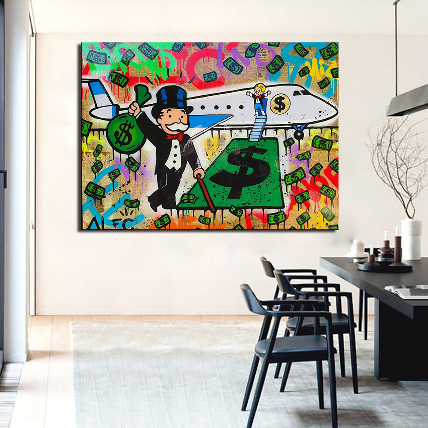 new fashion fly alec monopoly graffiti arts print canvas for wall art decoration oil painting wall