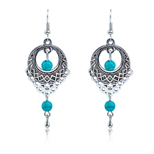 Fashion Earrings For Women Vintage Silver Drop Earring Special Water Hollow Pretty Turquoises Classical Ornaments