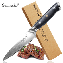 SUNNECKO New 5 inch Steak Knife Japanese VG10 Steel Kitchen Knives Damascus G10 Handle Chef Meat Slicing Utility Beef Cutter