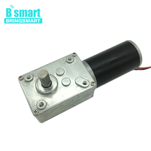 Bringsmart 70kg.cm High Torque DC Worm Geared Motor 12V 24V Mini Gearbox Motor Reversed Self-lock Engine for DIY Curtain Machine