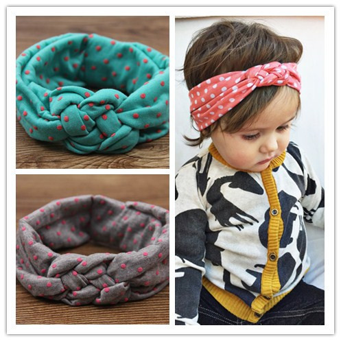 baby girls dot braided top knot twisted turban headband elastic for hair head bands wraps headbands