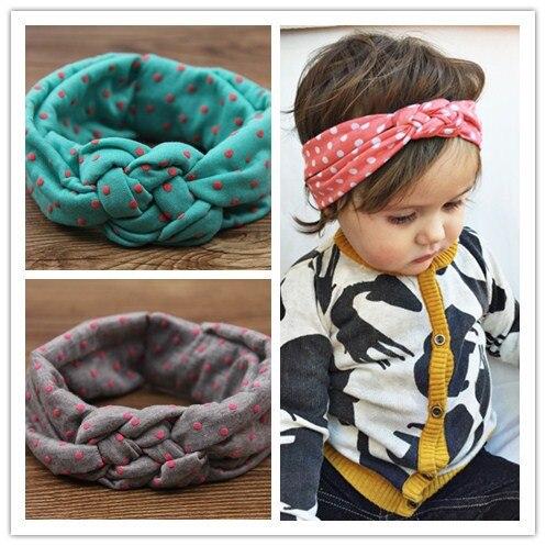 Las muchachas del bebé puntean trenzado superior trenzado nudo turbante venda elástico del pelo bandas para