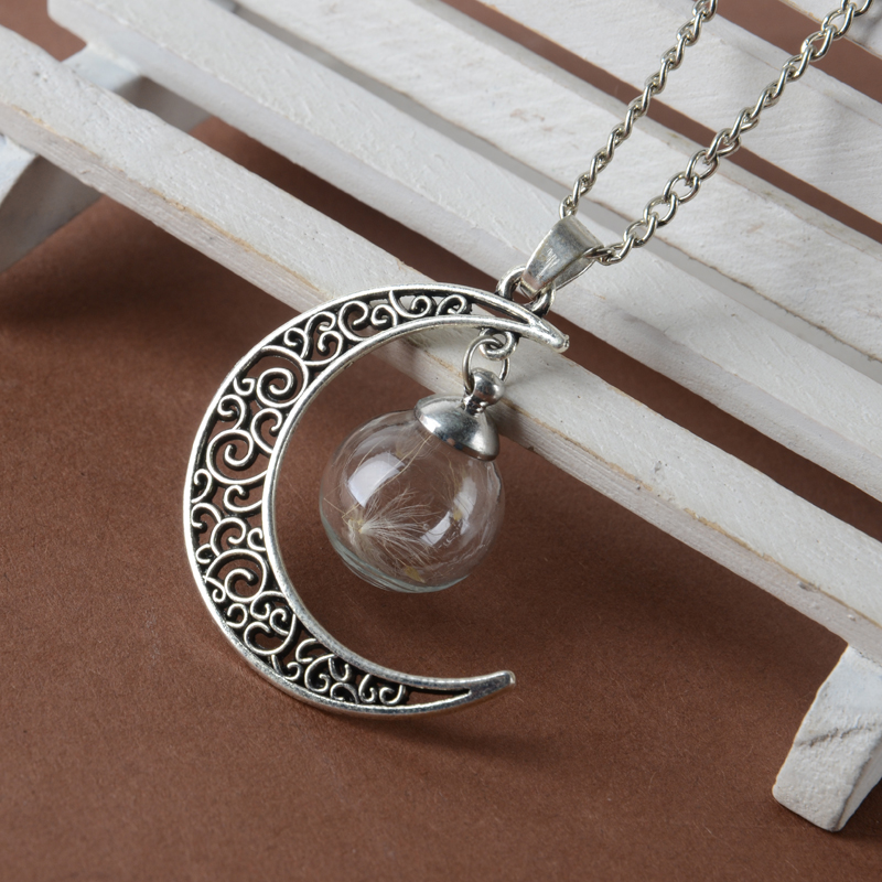 Cute Stunning Silver Moon Ball Vial Necklace