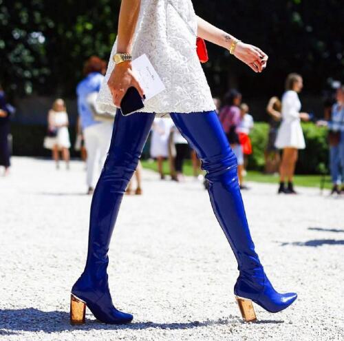 Abesire 2019 el nuevo diseño mujer moda cuadrado transparente tacones altos sobre la rodilla botas mujer punta redonda zapatos con cremallera