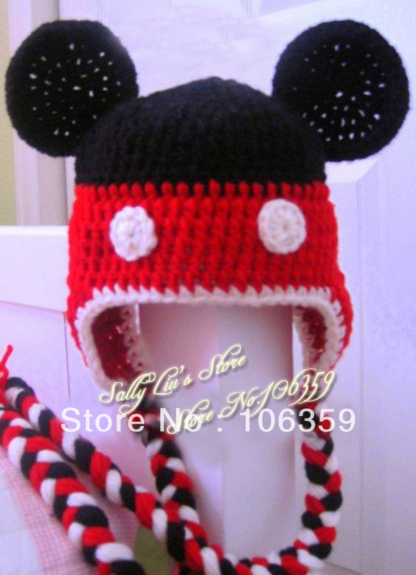 New baby crochet hat handmade knitted boys girls minnie mouse hat ...