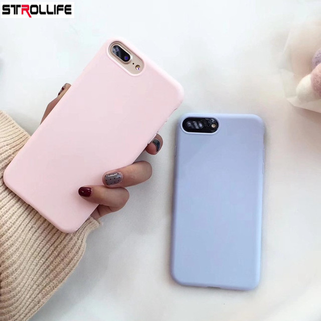 2216e27035 STROLLIFE Fashion Candy Color Phone Case For iphone 8Plus case Rubber Soft  TPU Silicon Cover For iPhone 7 7Plus 6 6s 8 Plus Capa