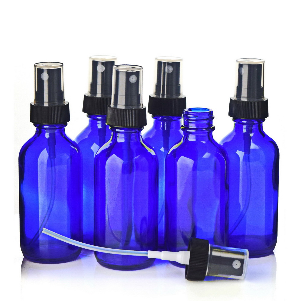 6 X 60ml Cobalt Blue Glass Spray Bottles With Black Fine Mist Sprayer For Essential Oils Cleaning Aromatherapy Refillable 2 Oz