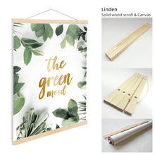 ART ZONE Green Mood Plant Canvas Painting With Solid Wood Scroll Flower Leaves Nordic Minimalist Wall For Kids Bedroom