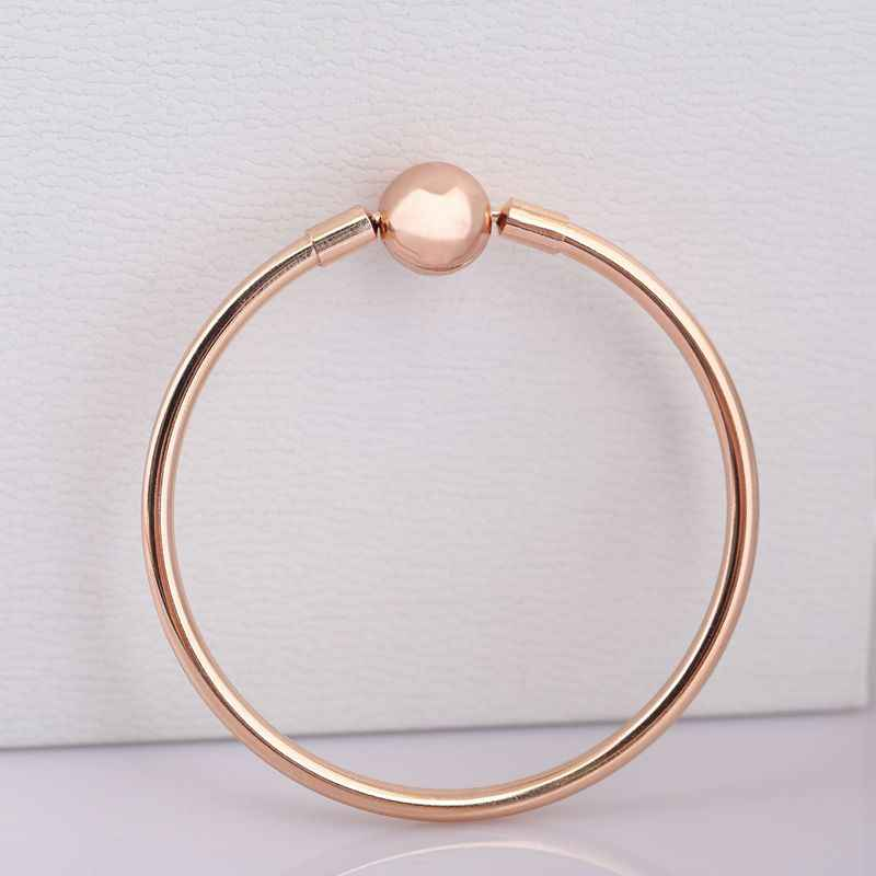 Authentic 925 Sterling Silver Bracelets Bangles For Women Signature Clasp Rose Gold Colour Jewelry fit Lady Beads Charms Penant