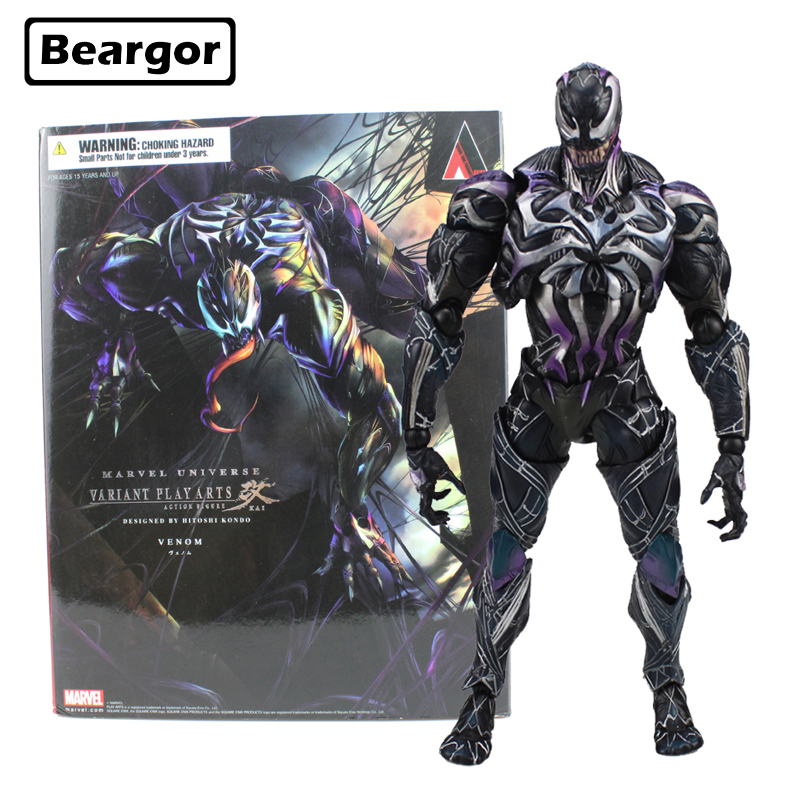 10 inch Marvel Super Hero Spiderman Venom Variant PA KAI Ver. Boxed 26cm PVC Anime Action Figure Collection Model Doll Toys Gift free shipping 10 pa kai super hero black panther t challa boxed 26cm pvc action figure collection model doll toy gift