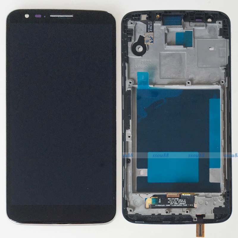 For Black LG G2 D802 Touch Screen Digitizer Glass LCD Display Assembly + Frame толщиномер etari et 111