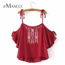 e-Manco 2017 spring and summer new fashion Unique Floral embroidered camisole Tops women
