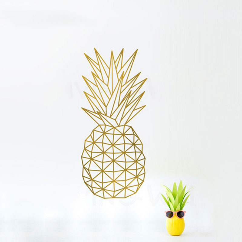 geometric pineapple Nordic style stickers Eco-friendly vinyl wall decal for home and store decor dining hall and sofa background