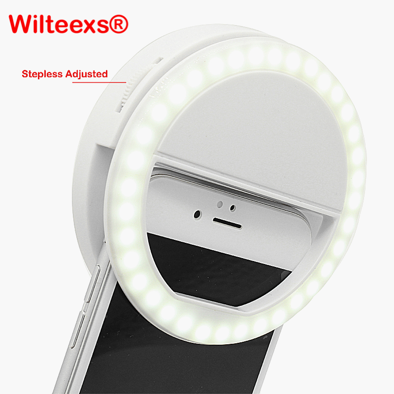 WILTEEXS 36 Led Stepless ajustado Selfie Ring Flash Light Camera Mejora de la fotografía Lámpara luminosa para iPhone7 6 Samsung S5 S4