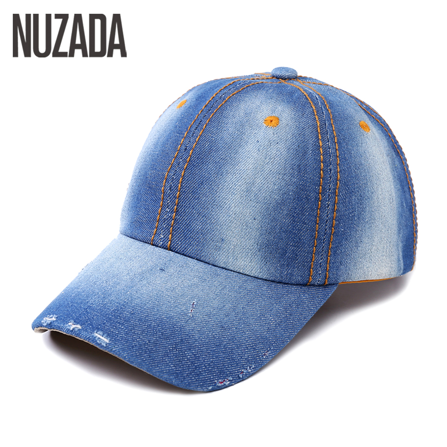 Brand NUZADA Snapback Baseball Cap For Men Women Couple Bone Hip Hop Cotton Caps Spring Summer Denim Solid Color Wash Old Hats new fashion floral adjustable women cowboy denim baseball cap jean summer hat female adult girls hip hop caps snapback bone hats