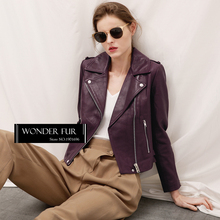 Fancy Design Genuine Sheep Leather Jacket Vintage Style Sheep Skin Coat Spring Real Lather Women's Jacket With Zipper Pockets
