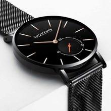 Ultra-thin Luxury Men Watch Creative Black Steel Belt Watches Casual Sports Waterproof High-grade Quartz Wristwatches Sale все цены