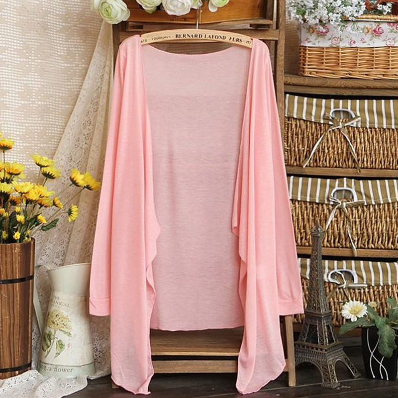 Summer Autumn Cardigan Long Thin Women Jackets Candy Color Knitted Cardigans Female Coat Long Sleeve Sun Protection Clothing