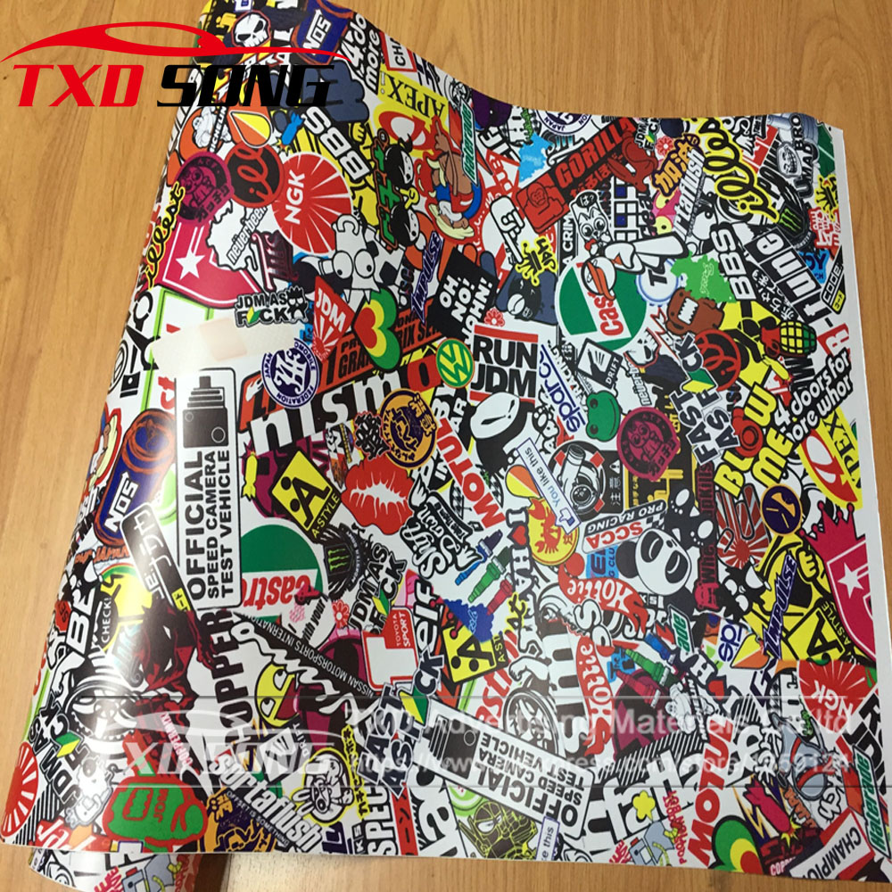 10/20/30/40/50/60X152CM HOT Skull Sticker Graffiti Stickerbomb Vinyl Wrap Car Motorcycle Scooter Wrapping Decal Film Air Bubble