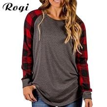 b3dc31ab Rogi Plus T-Shirt Mujer 2018 Plaid Raglan camisetas para las mujeres manga  larga o-cuello señoras béisbol Tops Camiseta Mujer s-.