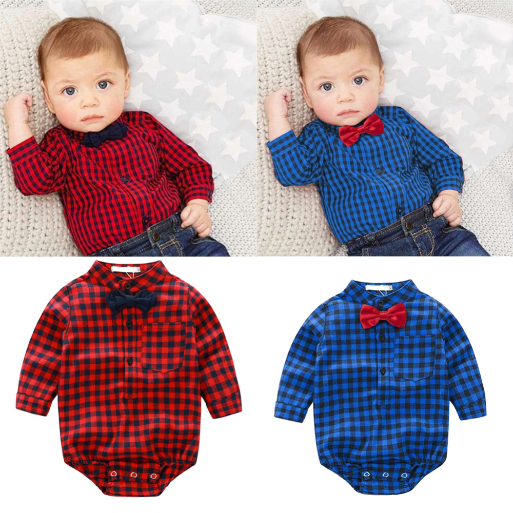 Baby Rompers Gentleman Long Sleeve Cotton Plaid Tops Clothes  Autumn Kids Infant Christmas Clothing Set Overalls for children strip baby rompers long sleeve baby boy clothing jumpsuits children autumn clothing set newborn baby clothes cotton baby rompers