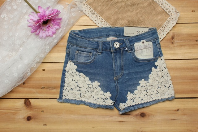 2018 summer baby girl shorts fashion girls lace Floral shorts jeans kids denim shorts Panties 2-12 Y baby wear 2