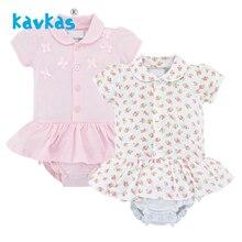 Kavkas Детский боди новорожденный короткий рукав розовый цвет простой летний модный бант с принтом Одежда для новорожденных девочек