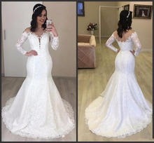 Sexy sheer Neck Mermaid Lace Wedding Dresses With Beads Elegant Long Sleeves Bridal Dress 2019 Illusion Neck Vestido De Nova long sleeves plunging neck sheer lace bodysuit